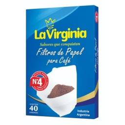 FILTRO PARA CAFÉ Nº 4 LA VIRGINIA X 40 UNIDADES