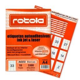 ETIQUETAS ROTOLA X 10 HOJAS A4