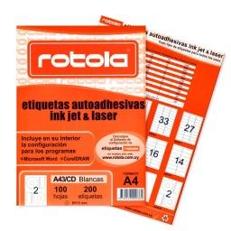 ETIQUETAS ROTOLA X 100 HOJAS A4